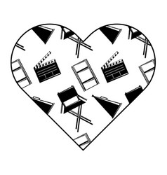 label heart with film movie chair megaphone and vector image