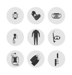 Monochrome diving icons - scuba diving flat vector