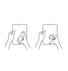 multi touch hand gestures for tablet vector image