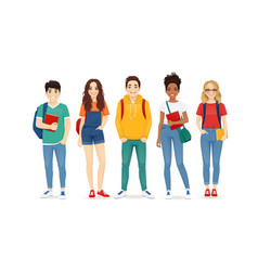 Multiethnic young people in casual clothes vector