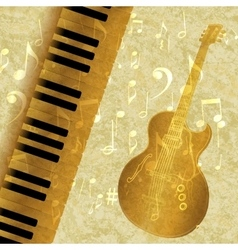 musical background piano keys and guitar jazz vector image