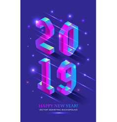 new year 2019 in isometric style isometric vector image