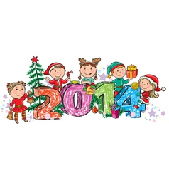 New Years children 2014 vector image