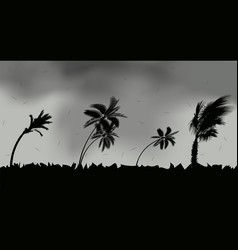 Palm trees during storm and hurricane leaves fly vector
