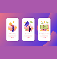 People paying with cash and credit cards mobile vector
