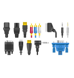 plugs isolated icons connection cables and vector image