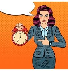 Pop Art Business Woman Holding Alarm Clock vector