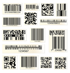 Qr codes and barcodes with numbers vector