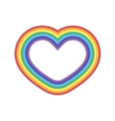 Rainbow icon heart realistic sign vector