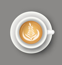 realistic coffee cup top view realistic hot vector image