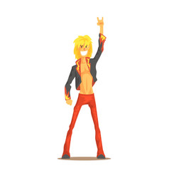 rocker man showing rock and roll gesture rock vector image