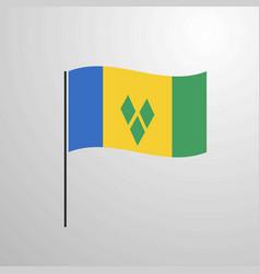Saint vincent and grenadines waving flag vector
