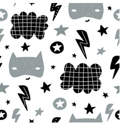 Seamless childish pattern with cute hero mask vector