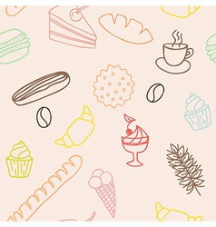 Seamless pattern with bread rolls cakes cookies vector image
