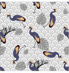 Seamless pattern with cranes vector