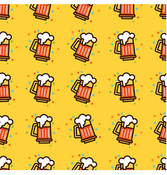 seamless pattern with foam beer in large mugs f vector image