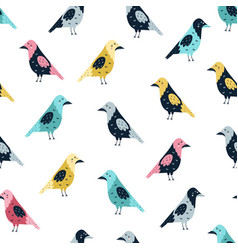 seamless pattern with funny crows forest vector image