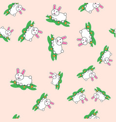 seamless pattern with rabbit and carrot hare vector image