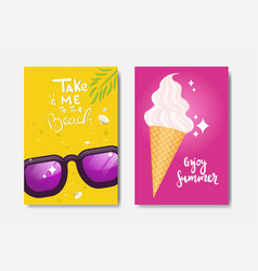 set enjoy summer ice cream badge isolated vector image