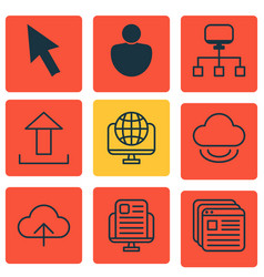 set of 9 web icons includes data synchronize vector image