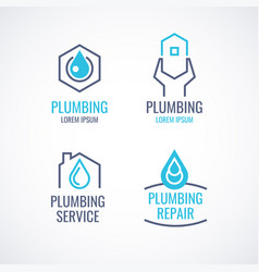 Set of logos emblems icons plumbing service vector