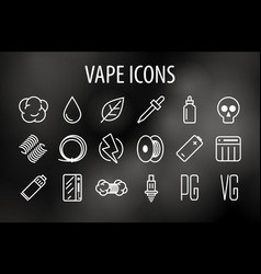 set of minimal vape vaping culture line vector image