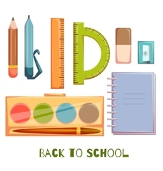 Set of school objects vector