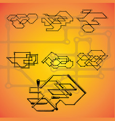 Set of seven mechanical schemes vector