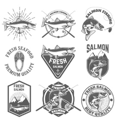 Set of vintage labels with salmon fish Salmon vector