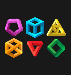 Simple 3d impossible shapes vector