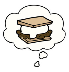 Smore cartoon and thought bubble vector