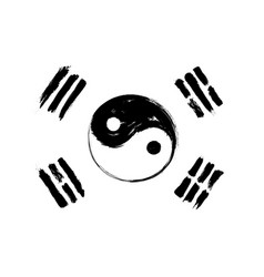 South korea flag mix with yin and yang symbol vector