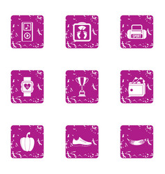 Sporting behaviour icons set grunge style vector