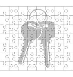 Stencil of puzzle pieces and keys vector