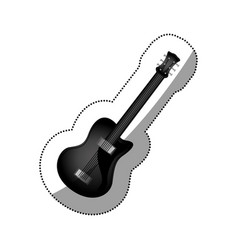 Sticker monochrome silhouette with electric guitar vector