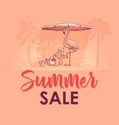 summer sale banner with cute pelican flamingo vector image