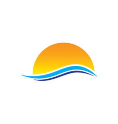 sunset wave logo vector image
