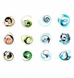 Swirly graphic elements vector