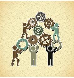 Teamwork design over pattern background vector