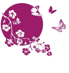 Twig cherry blossoms vector