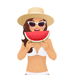 watermelone smile woman vector image