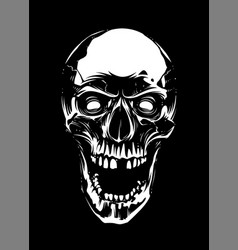 white skull with open mouth on black background vector image