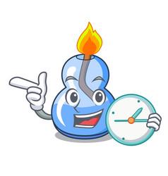 With clock alcohol burner character cartoon vector