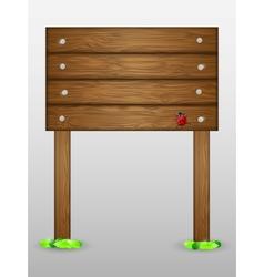 Wooden signboard with ladybird vector image vector image