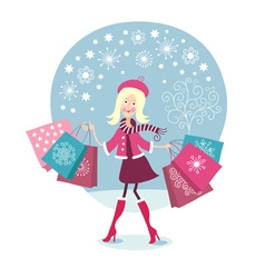 Young Girl is having a walk with buying vector image