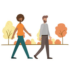 Young men with landscape avatar character vector