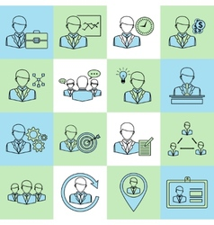 Business and management icons flat line vector image vector image