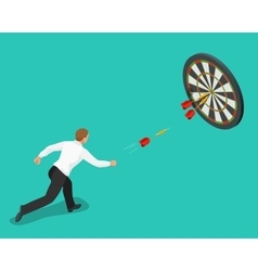 Businessman hitting the center of target Aiming vector image