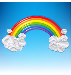 clouds and colorful rainbow vector image