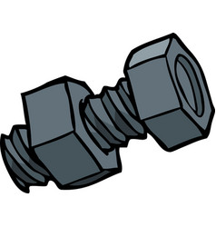 doodle bolt with nut vector image